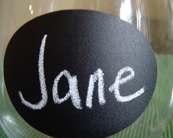 Small Oval Chalk Labels (tm) - Vinyl Chalkboard Labels Self Adhesive - 2.5 inch - 12