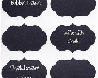 15 Chalk Labels® Large Chalkboard Labels Bubble Frame, Chalkboard Stickers, Organize your Home, Personalize your Party - 4 x 3 inch