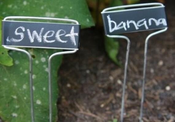 5 Chalkboard Metal Garden Markers - 5, Garden Stakes