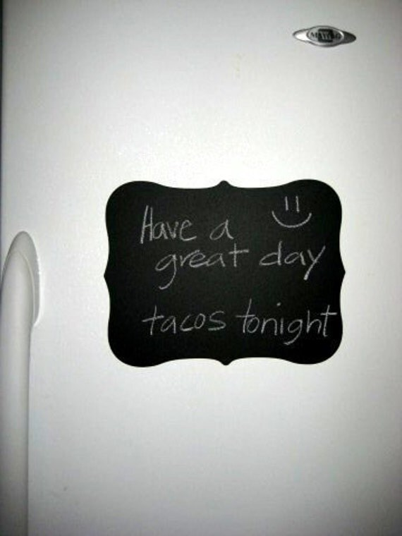 Fancy Chalkboard Vinyl Decal  - You can use regular chalk and write notes.  Perfect for the fridge
