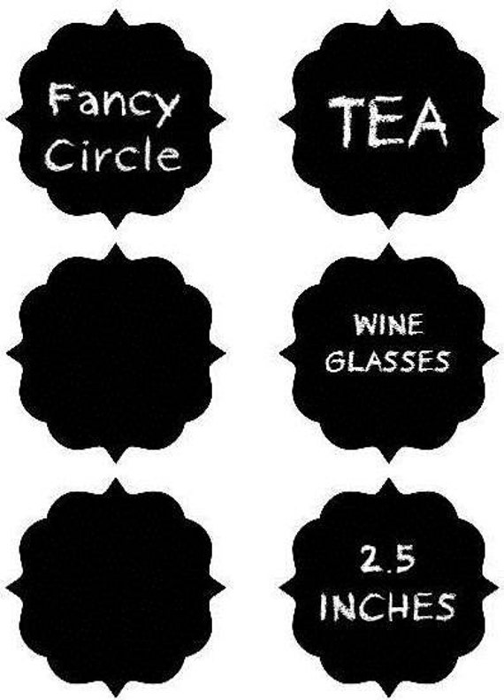 NEW Fancy Circle Chalkboard Labels - Organize and Personalize with CHALK LABELS - 12- 2.5 inches