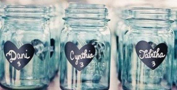 200 Heart Chalkboard Mason Jar Labels-DIY Mason Jars and Wedding Favors-FREE Shipping, Heart Chalkboard Stickers
