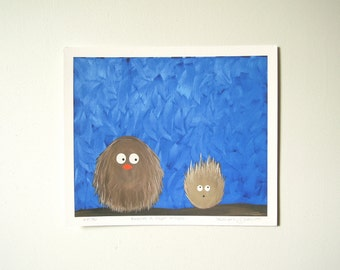 Giclee Print - Surprise - Fluffy Fat Bird - Limited Edition Fat Bird Giclee Archival Print on Paper - Owl Bird Woodland Nursery
