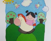 Hand painted canvas panel painting - Girl and horse