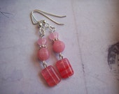 Shades of Pink Glass Earrings