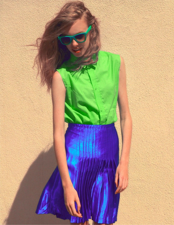 Electric Blue Pleated Skirt