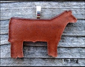 Shorthorn/ Red Angus hand painted  fused glass pendant