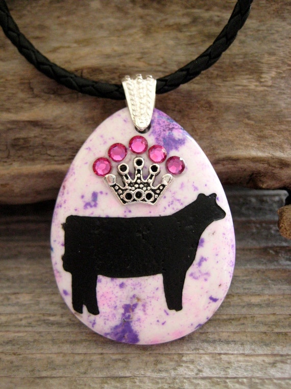 Large 50mm show heifer purple turquoise gemstone pendant