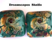 Handmade Glass Lampwork Beads - Teal Pillow Eye of the Storm Pair - SRA - Made to Order