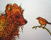Fox and Bird Letterpress Print