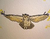 Owl Letterpress Print