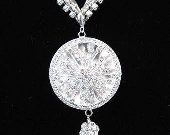Starburst Pendant Necklace, with Austrian Crystal Chain and Knotted Silver Beads