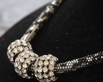 Peyote Stitch Necklace with CZ Slider Baubles and Sterling Silver Detail