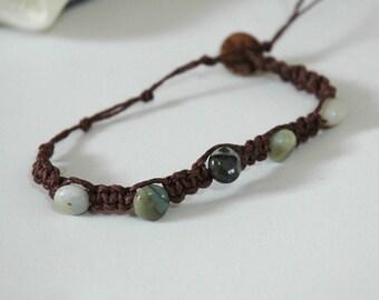 Knotted Hemp Boho Bracelet with Amazonite
