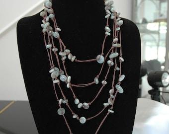 Aquamarine Necklace or Bracelet in Knotted Hemp