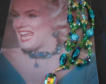 Ode to Marilyn Peacock Choker w Pendant, Venetian Glass and Crystal