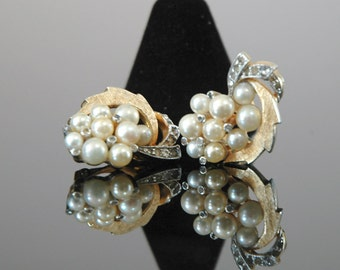 Vintage Bride Panetta Earrings, 1950s Clips, Signed, Creamy Glass Pearls with Tube Set Rhinestones