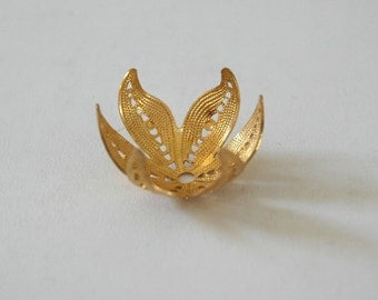 1 Vintage Gold Plated Brass Finding - Unused Stock for Wrapping, Beading, Jewelry, Crafts