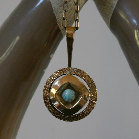 Vintage Modernist Necklace - Bronzed, Signed Alton KE Palmberg with Ceramic Cabochon