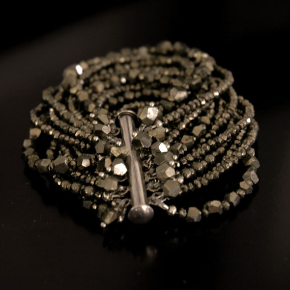 SOLD - Reserved for Kari. Balance Due. 13 Strand Pyrite Bracelet, Luxury Piece with Natural Mineral Stones, Sterling Slide Clasp