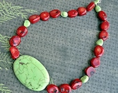 Coral and Lime Turquoise Necklace