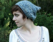 Light blue pixie hat for adults - Crocheted pixie beanie - oversized slouch beanie with a point