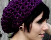 Purple crocheted oversized chunky beanie - Large purple slouchy hat