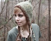 Pixie Hat - Light Green - Sage - Pixie hood - Elf Hood - Costume - Elf Hat