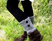 Leg Warmers - Gray Legwarmers - Hand Knit - Leg Warmers With Buttons - Knit Leg Warmers