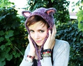 Purple Ear Hat - Animal Hat - Hood with ears - Animal Costume - Hood - Cat Hat - Costume - Halloween