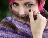 Cowl - Versatile Scarf - hooded scarf - circle scarf - light weight scarf - striped - purple
