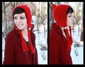 Pixie Hat - Red Pixie Hat - Red Pixie Hood - Red Riding Hood - Buttons