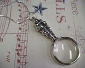 Magnifying Glass Pendant Necklace Sterling Silver