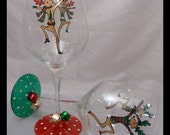 Special Order for Gabriella - Hand Painted Wine Glass with Jingle Bells