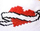 "3.5x5"" Customizable Tattoo Heart Banner Cross Stitch in Frame"