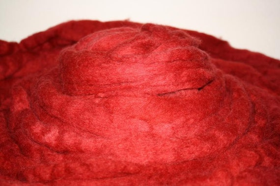 Kettle Dyed Corriedale Roving for Spinning and Felting Oxblood Red