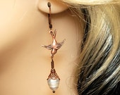 Swallows Eggs - Copper Swallow Earrings - Pearl Earrings - Filigree Earring - Antique Copper Filigree Earrings With Flying Bird And Pearls