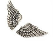 Wing Cuff Links SOLDERED - Cuff Wings - Antique Silver Winged Cufflinks - The Flight Series Cufflink - SOLDERED Feathered Fantasy Cuff Link