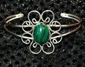 Malachite Cuff   ---   Sterling Silver Bracelet With Malachite Cabochon