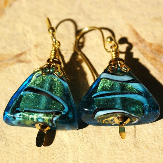 Glass Triangles --- Turquoise Glass Triangle Earrings With Vermeil Ball Ended Ear Wires