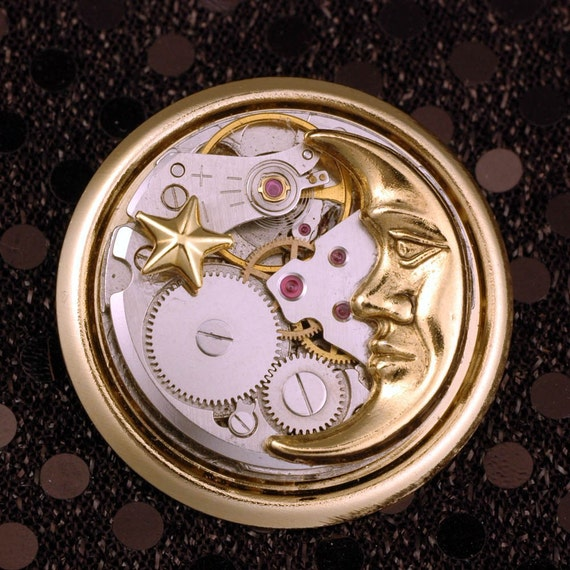 Night Time Pin - Moon And Star Pin - Steampunk Watch Movement Brooch - Silver And Gold Crescent Moon Pin With Star - Celestial Steampunk