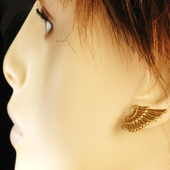 Elfin Angel Wing Earrings - Small Winged Elf Earrings - For Angels, Nymphs, Sprites And YOU - In Golden Brass, With Hypoallergenic Posts