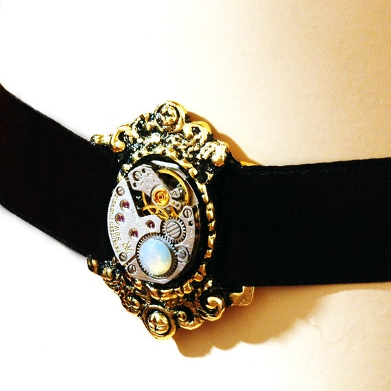 Steampunk Neo Victorian Choker - Adjustable - Repurposed Watch Movement Choker Necklace In Antiqued Gold With A Swarovski Crystal