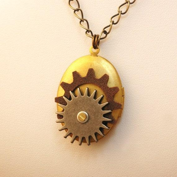 Two Gears Locket   ---  Two Gears Double Sided Steampunk Locket Necklace