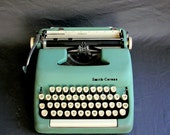 Robin's Egg Blue - Green Smith Corona Sterling Portable Manual Typewriter with Black and White Case
