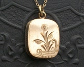 RESERVED // Art Deco Locket Necklace. Deep Curvy Rectangle.  Fine Gold Filled Chain.