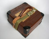 Vintage Riveted Film Box. Leather Handle. Two Belts. Label. Lacquer.