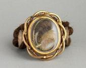 Antique Victorian Bracelet. Hair. Feathers.