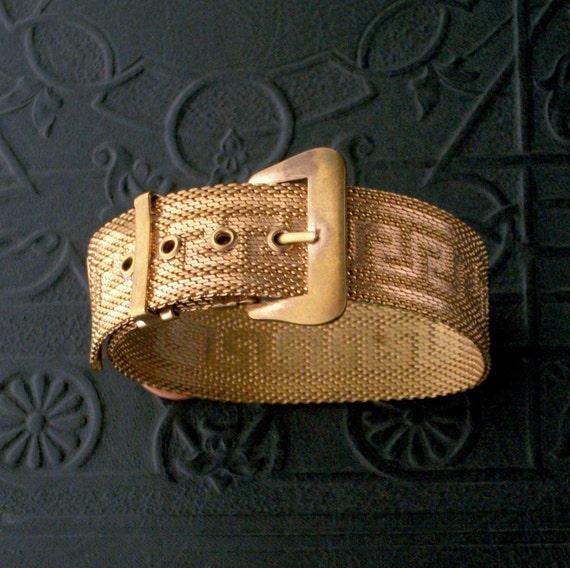 Vintage Mesh Buckle Bracelet. Greek Key. Gilt Brass.