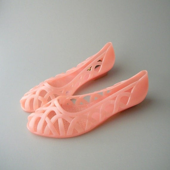 Pearly Pink Peep Toe Jellies.  80s.